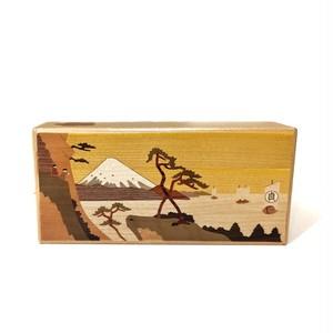 Himitsubako puzzle box with inlayed Mt. Fuji design 7 sun 7 times