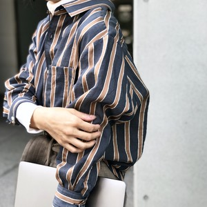 YUTORI SHIRTS/NAVY MULTI STRIPE