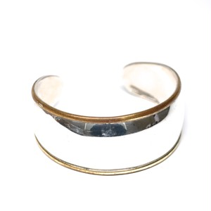 Vintage Mexican Silver & Brass Modern Bangle