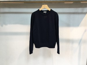 "niuhans""Wool Cashmere Elbow Patch Swater Navy"""