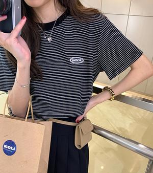 ワンポイントロゴボーダーTシャツ D2254