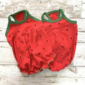 【XS・S・M】COCOLIO 丸ごとすいか(赤)裾フリル / 裾リブ型