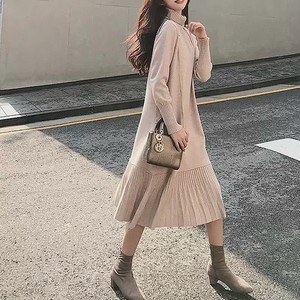knit frill long dress 4color