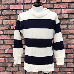 Guernsey Sweater Wollens Striped Cotton Made In England /UK36