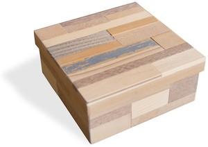 小箱 木のパッチワーク