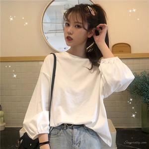 【トップス】無地清新キュートコットンやわらかな素材ゆったり長袖Tシャツ