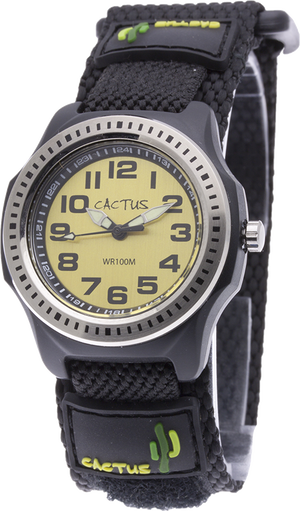 [キッズ腕時計 ボーイズデザイン]イエロー ベルクロ仕様 10気圧防水 CAC-45-M10