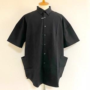 Seersucker Stretch Over Size Shirts Black