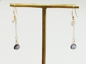 14kgf 宝石質 アイオライト レインボー ムーンストーン ピアス