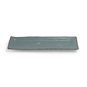 aito製作所 「翠 Sui」焼き魚皿 長角皿 約28×9cm 空色ねず 美濃焼 288229
