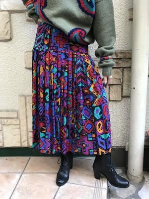80s geometric rayon skirt ( ヴィンテージ ジオメトリック レーヨン スカート )