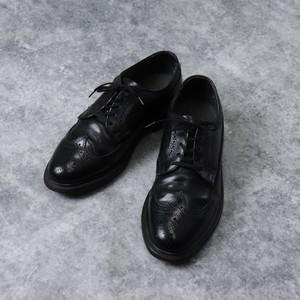 """"""" HANOVER """"  Leather  Shoes   8 EEE    ハノーバー レザーシューズ ウイングチップ ブラック メンズ26cm 古着"""