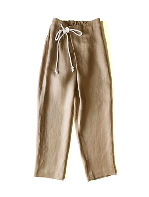 Linen over tuck pants Beige / THE FACTORY