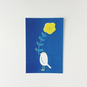 ポストカード 花くわえ小鳥