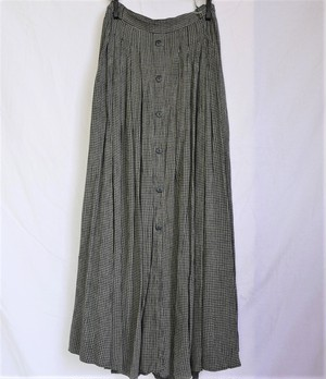 French Houndstooth Pattern Long Skirt