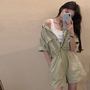【セット】カジュアル半袖シングルブレストPOLOネックシャツジャンプスーツ45508018