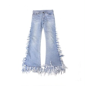 Fringe denim pants
