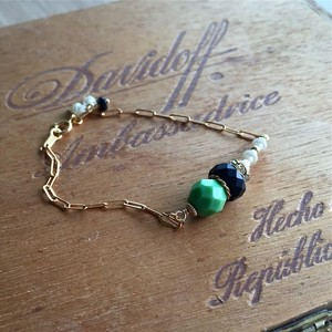 【New Line】Vintage beads motif × 14kgf chain  ブレスレット