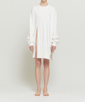 White Distorted Oversized Sweater