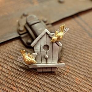 """""""J.J. [ジェージェー]"""" 60's 小鳥と巣箱 ヴィンテージブローチ&ピアス   [BV-233]"""