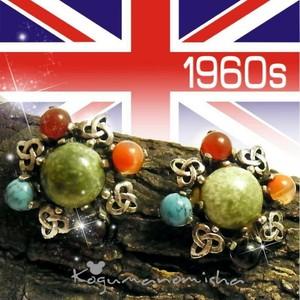 英国 ヴィンテージ★マルチカラー カボッションガラス トリニティーノット ケルティック  イヤリング 1960s 帯留めにも
