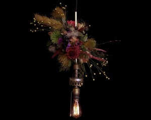 Purple&Red Dried flower 1920us Antique hanging lamp