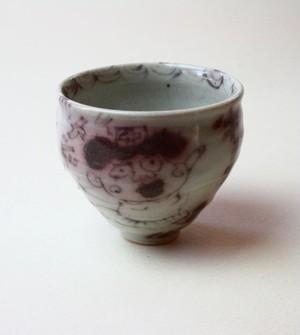 看護婦さんと猫の小さい器 / 陶芸 /釉裏紅 /茶器 /酒器 /ceramic /pottery /teacup