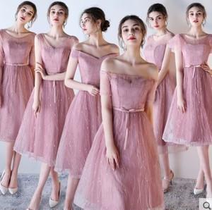 ピンクのミディアムブライズメイドドレス