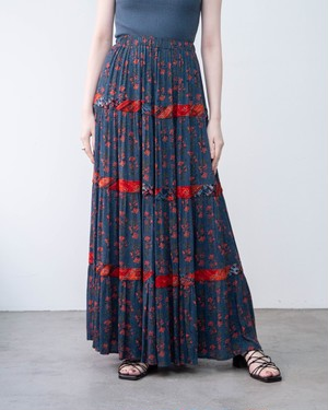 1980s floral print tiered skirt