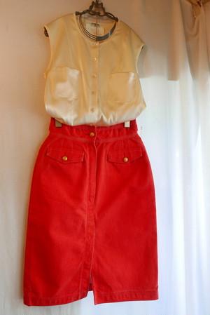 CHANEL Red Denim Skirt