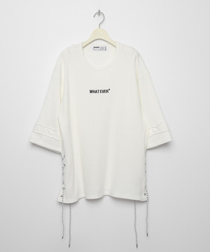 WHATEVER* Side Laced Waffle T-shirt [White]
