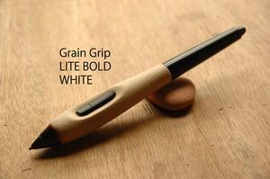 【太径・ホワイト】葉車堂 グレイングリップ LITE 太径タイプ ホワイト 【Wacom用木製グリップ 最軽量】