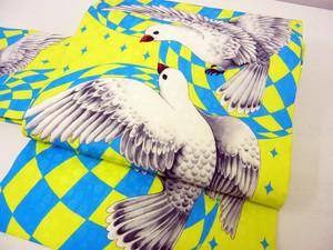 鳩柄名古屋帯「petit pigeon」スカイブルー×レモン