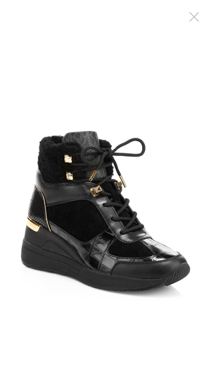 MICHAEL KORS Living Shearling-Trim Leather Platform Wedge Ankle Boots