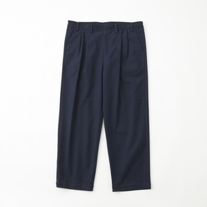 STRETCHED 2TUCK WIDE PANTS - NAVY