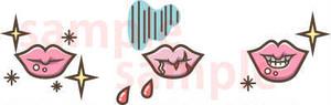唇のひび割れ・剥け 線茶色 イラスト素材
