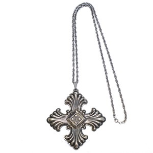Reed & Barton 1973 Vintage Sterling Silver Christmas Cross Necklace
