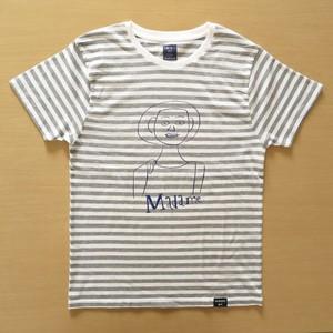2019ユニセックスTシャツ マダム ホワイト×杢グレーボーダー