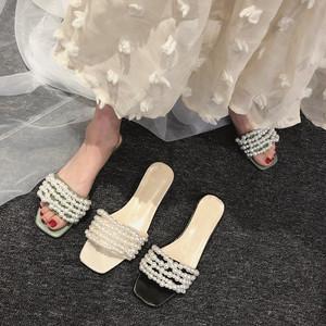 【shoes】カジュアルパールローヒールファッションスリッパ
