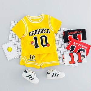 【子供服】超人気ボーイズバスケットスポーツ系ラウンドネックアルファベットプリント半袖シャツ/ハーフパンツ2点セット22142477
