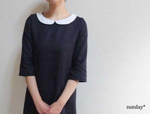 紺リネン白の丸襟ワンピース