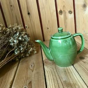 70-80sヴィンテージデッドストック未使用*古い棗型ポタリーティーポット*陶器製ハンドポット*緑グリーン*ビンテージアンティーク北欧レトロ