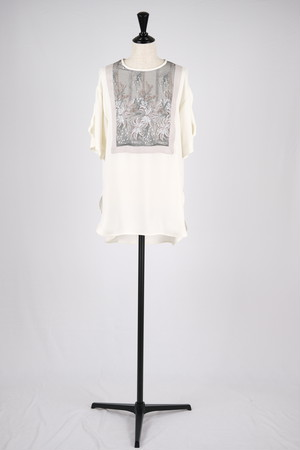 【MURRAL】framed flower half sleeve top - ivory