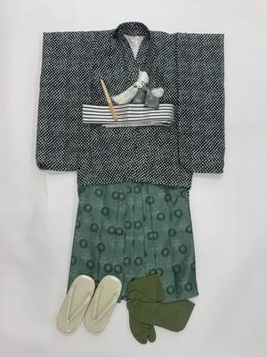 【5歳男児】七五三<レンタル> 絞り風着物・羽織と緑袴セット