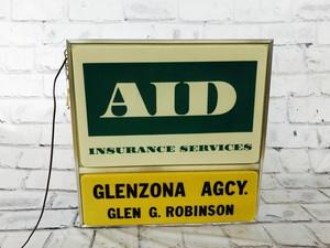 品番5469 サイン 『AID』 看板 ライト インテリア ヴィンテージ