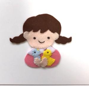 (カスタマイズ可)小鳥たちと三つ編みの女の子 ◆ランチベルト に取り付け可能