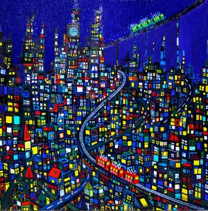 SOLD | 油彩画*夜のまち | CITY | OIL x CANVAS