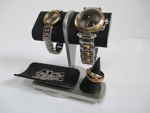 腕時計 飾る ブラック2本掛けだ円パイプトレイ、指輪スタンド付き腕時計スタンド 190803