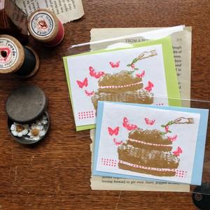 【figpolkadot】 メッセージカード  蝶のケーキ