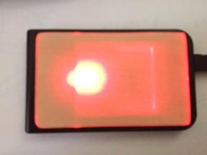 ICカード読み取り機に近付けると光る木板